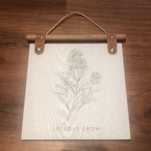 """Urban Outfitters Plant Wall Sign """"Let Love grow"""""""